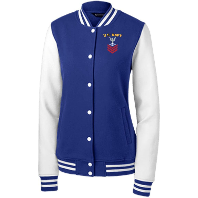 US Navy Aviation Electricians Mate AE E-6 Rating Badges Embroidered Sport-Tek Women's Fleece Letterman Jacket