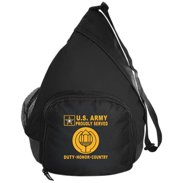 US Army Chaplain Assistant - Proudly Served-D04 Embroidered Active Sling Pack