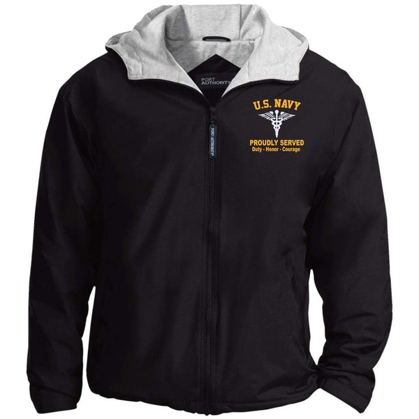 US Navy Hospital Corpsman HM Logo Embroidered Port Authority® Hoodie Team Jacket