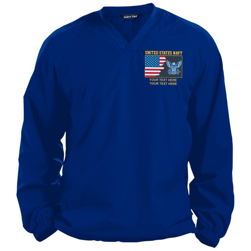 US Navy Logo - Personalized Embroidered Sport-Tek® Pullover V-Neck Windshirt