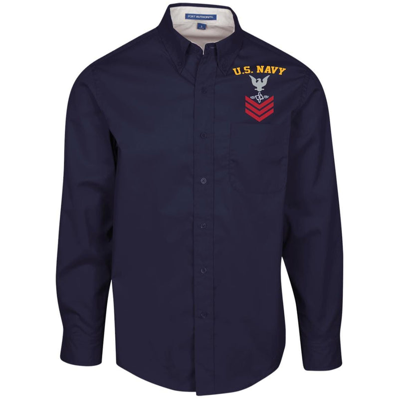 US Navy Aviation Maintenance Administrationman AZ E-6 Rating Badges Embroidered Port Authority Men's LS Dress Shirt