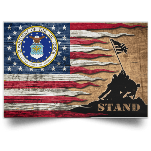 US Air Force Stand For The Flag Satin Landscape Poster