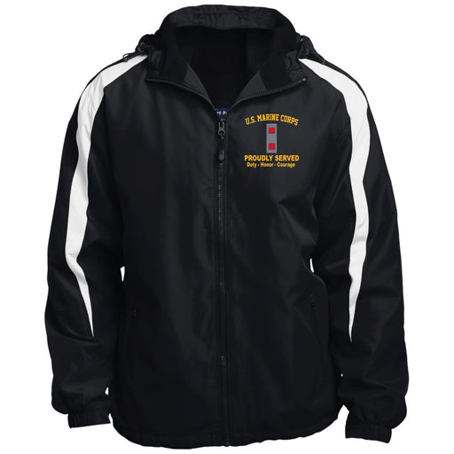USMC W-3 Chief Warrant Officer 3 CWO3 USMC W3 Warrant Officer Proudly Served JST81 Sport-Tek Fleece Lined Colorblocked Hooded Jacket