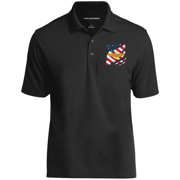 Navy Naval Aviation And American Flag At Heart Embroidered Polo Shirt