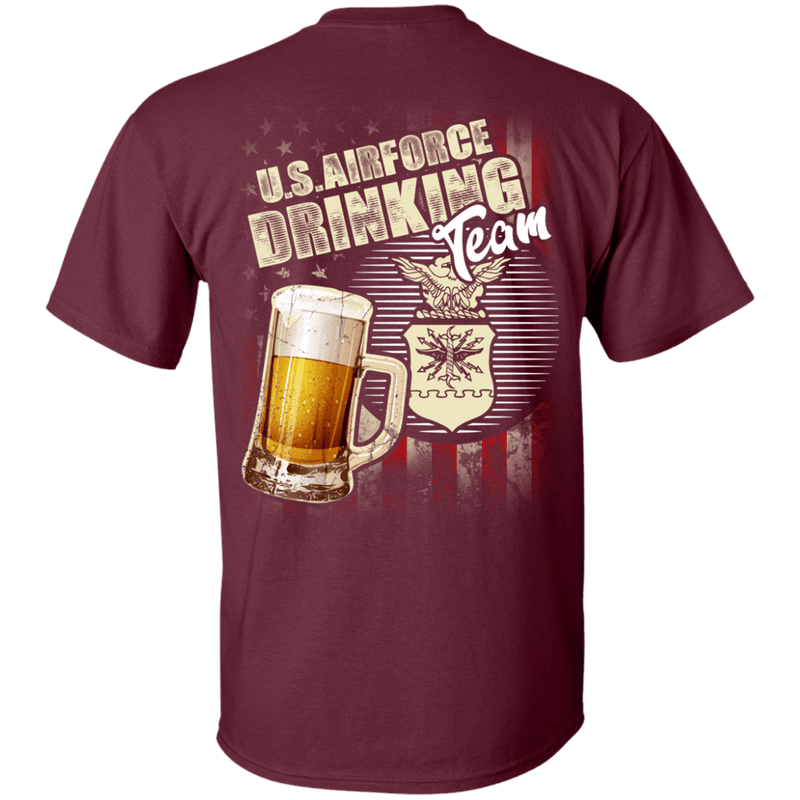 US Air Force Drinking Bear Team Back T Shirts