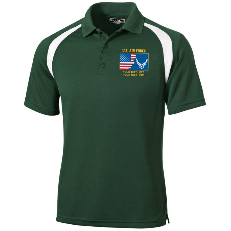 US Air Force Logo - Personalized Embroidered Sport-Tek® Golf Shirt