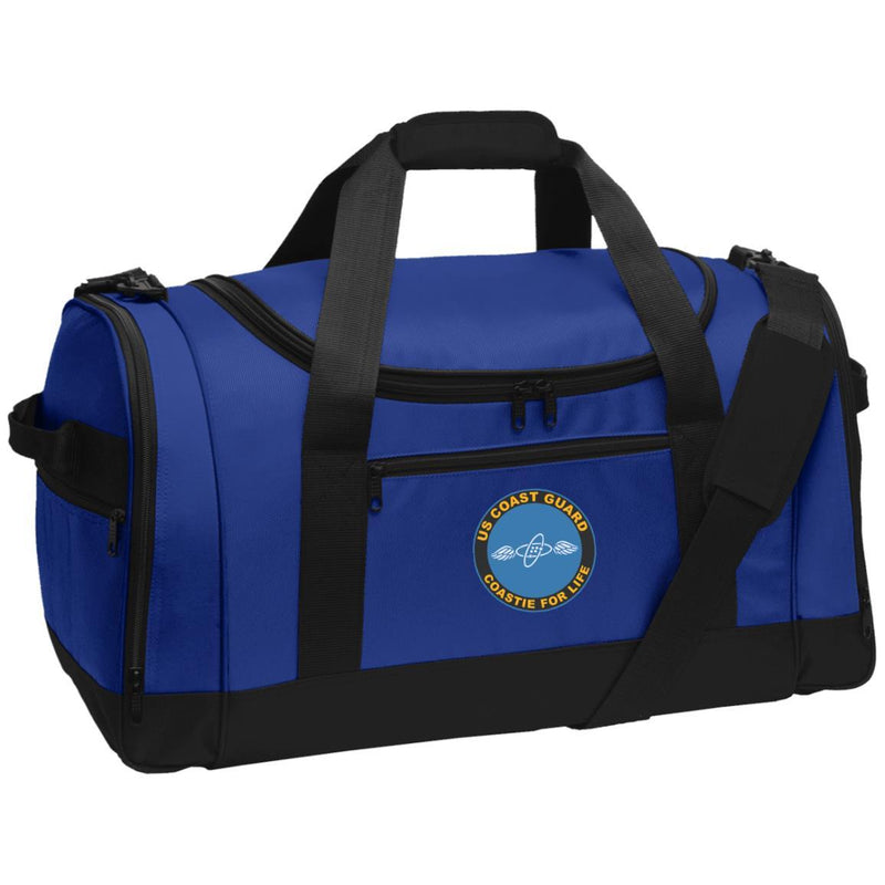 US Coast Guard Aviation Electronics Technician AET Logo Coastie For Life Embroidered Duffel Bag