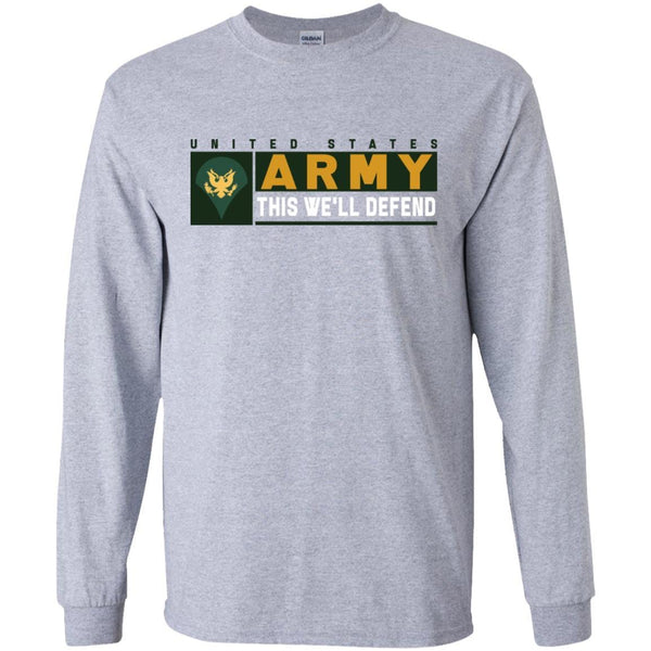 US Army E-4 SPC This We Will Defend Long Sleeve - Pullover Hoodie