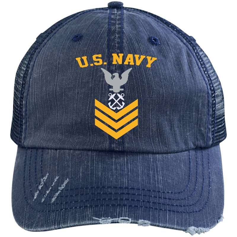 US Navy Boatswains Mate BM E-6 Rating Badges Gold Stripe Embroidered Distressed Unstructured Trucker Cap