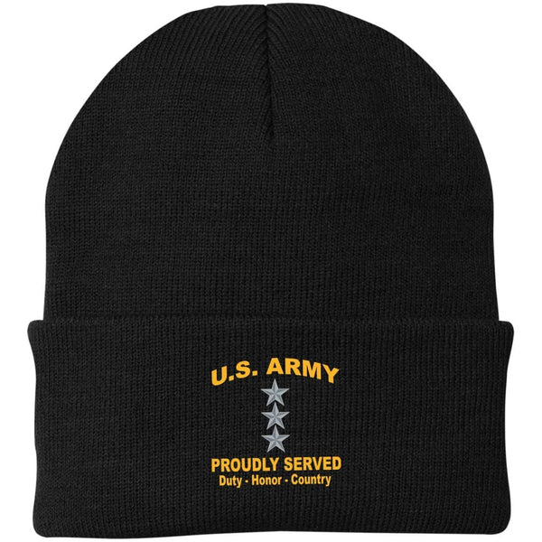 US Army O-9 Lieutenant General O9 LTG General Officer Proudly Served Military Mottos Embroidered Port Authority Knit Cap