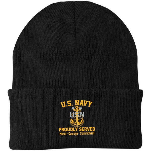 US Navy E-9 Master Chief Petty Officer E9 MCPO Senior Noncommissioned Officer Collar Device Proudly Served Embroidered Port Authority Knit Cap