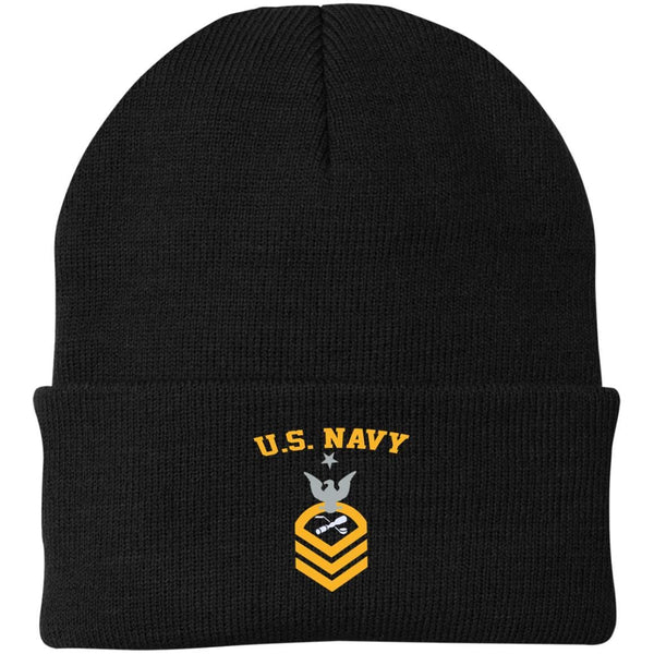 US Navy Molder ML E-8 Rating Badges Embroidered Port Authority Knit Cap