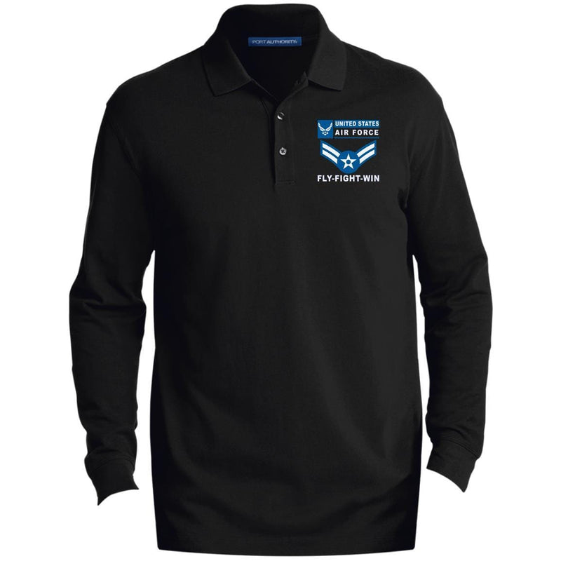 US Air Force E-3 Airman First Class A1C E3 Enlisted Airman- Fly Flight Win Embroidered Port Authority® LS Polo