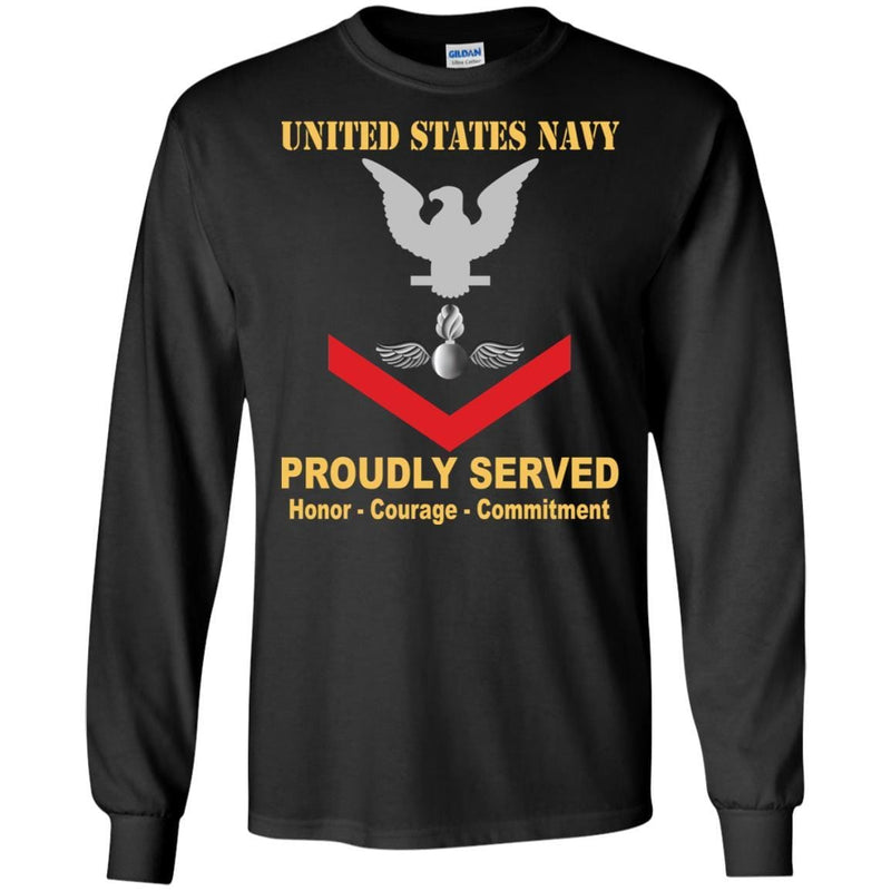 Navy Aviation Ordnanceman Navy AO E-4 Rating Badges Proudly Served T-Shirt For Men On Front