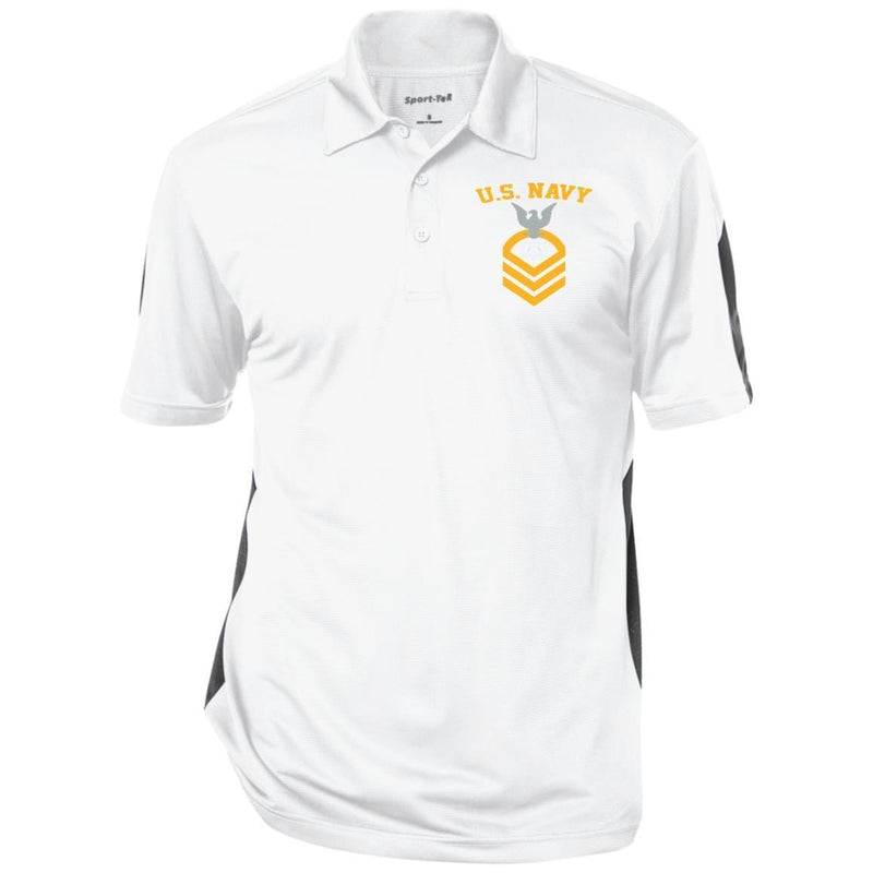 US Navy Culinary Specialist CS E-7 Rating Badges Embroidered Sport-Tek Performance Polo Shirt