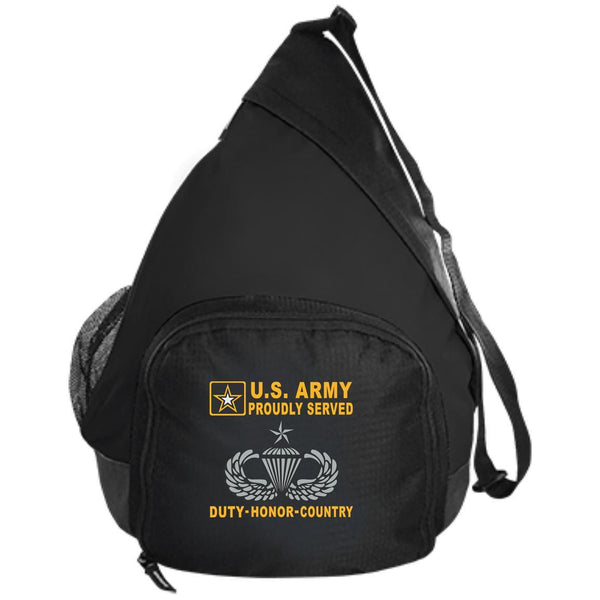 US Army Senior Parachutist Wings - Parachutist Badge - Proudly Served-D04 Embroidered Active Sling Pack