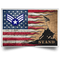 US Air Force E-4 Buck Sergeant Stand For The Flag Satin Landscape Poster