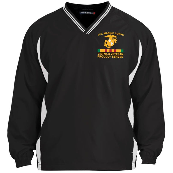 M.Corps VietNam Veteran Proudly Served Embroidered Sport-Tek Tipped V-Neck Windshirt