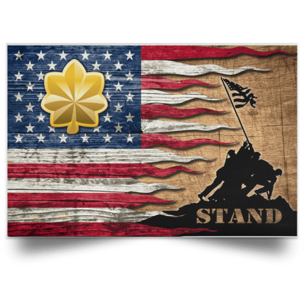 US Army O-4 Major O4 MAJ Field Officer Stand For The Flag Satin Landscape Poster
