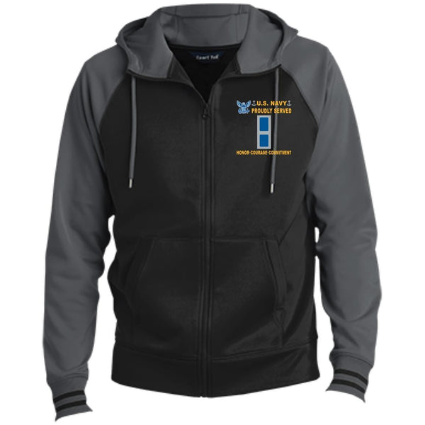 US Navy W-3 Chief Warrant Officer 3 W3 CW3 Warrant Officer Proudly Served-D04 Embroidered Sport-Tek® Full-Zip Hooded Jacket