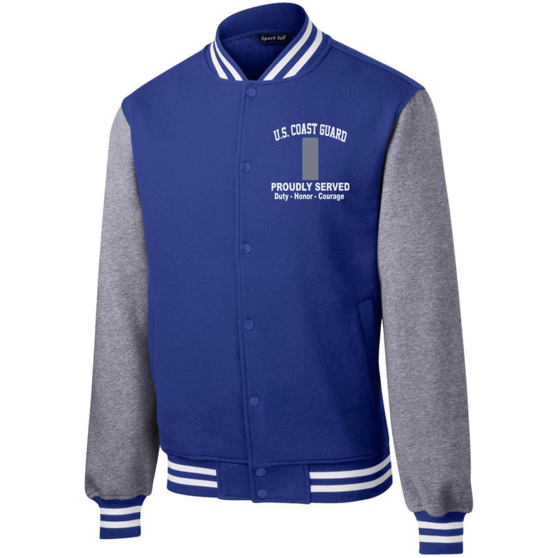 US Coast Guard O-2 Lieutenant Junior Grade O2 LTJG Junior Officer Proudly Served Embroidered Sport-Tek Fleece Letterman Jacket