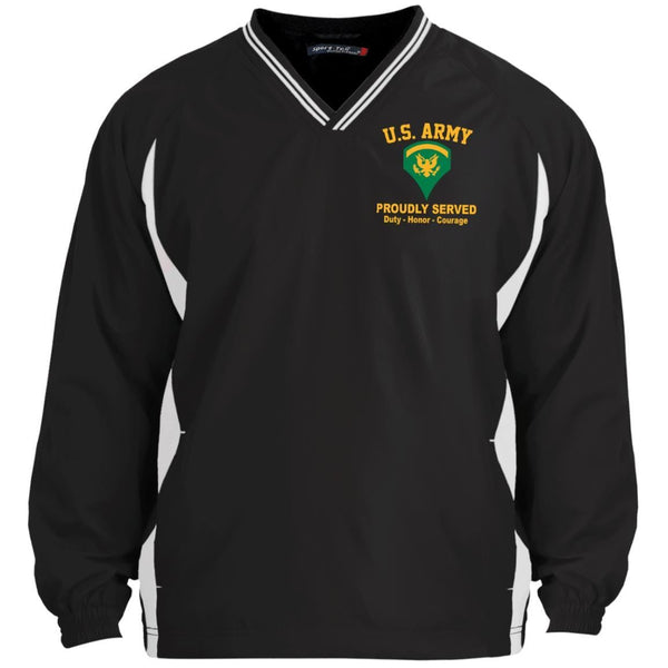 US Army E-5 SPC E5 Specialist Ranks Embroidered Sport-Tek Tipped V-Neck Windshirt