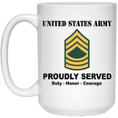 US Army E-8 Master Sergeant E8 MSG Noncommissioned Officer Ranks White Coffee Mug - Stainless Travel Mug