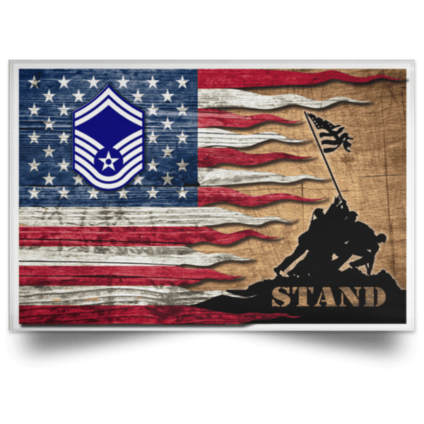 US Air Force E-8 Senior Master Sergeant SMSgt E8 Noncommissioned Officer AF Rank Stand For The Flag Satin Landscape Poster