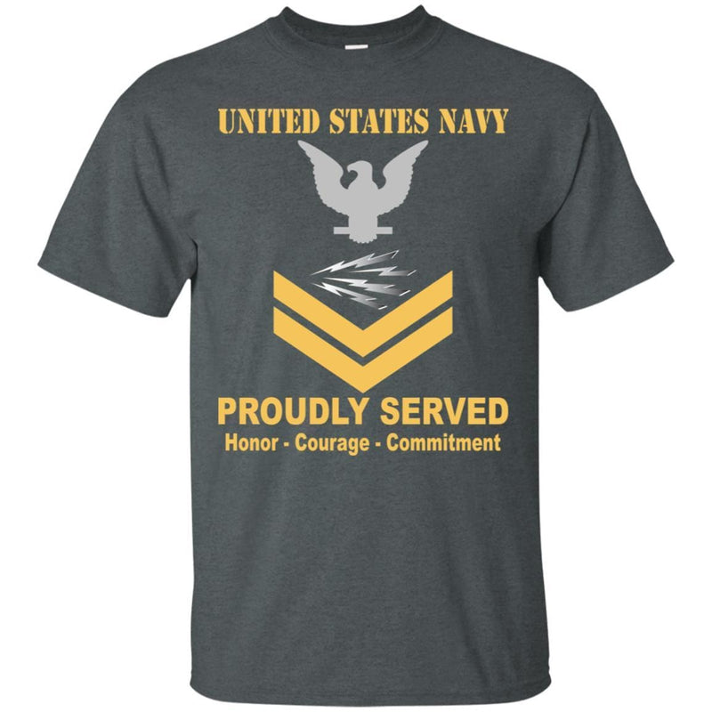 U.S Navy Radioman Navy RM E-5 Rating Badges Proudly Served T-Shirt For Men On Front