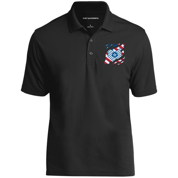US Air Force E-6 Technical Sergeant TSgt E6 Noncommissioned Officer  And American Flag At Heart Embroidered Polo Shirt
