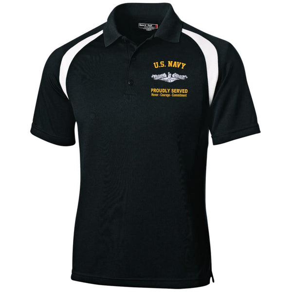 US Navy Submarine Proudly Served Embroidered Sport-Tek Moisture-Wicking Tag-Free Golf Shirt