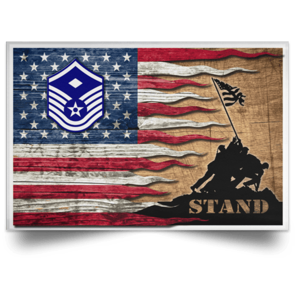 US Air Force E-7 First sergeant E-7 Rank Stand For The Flag Satin Landscape Poster