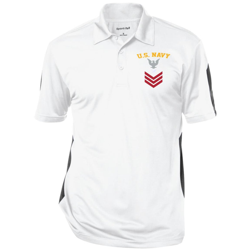 US Navy Journalist JO E-6 Rating Badges Embroidered Sport-Tek Performance Polo Shirt