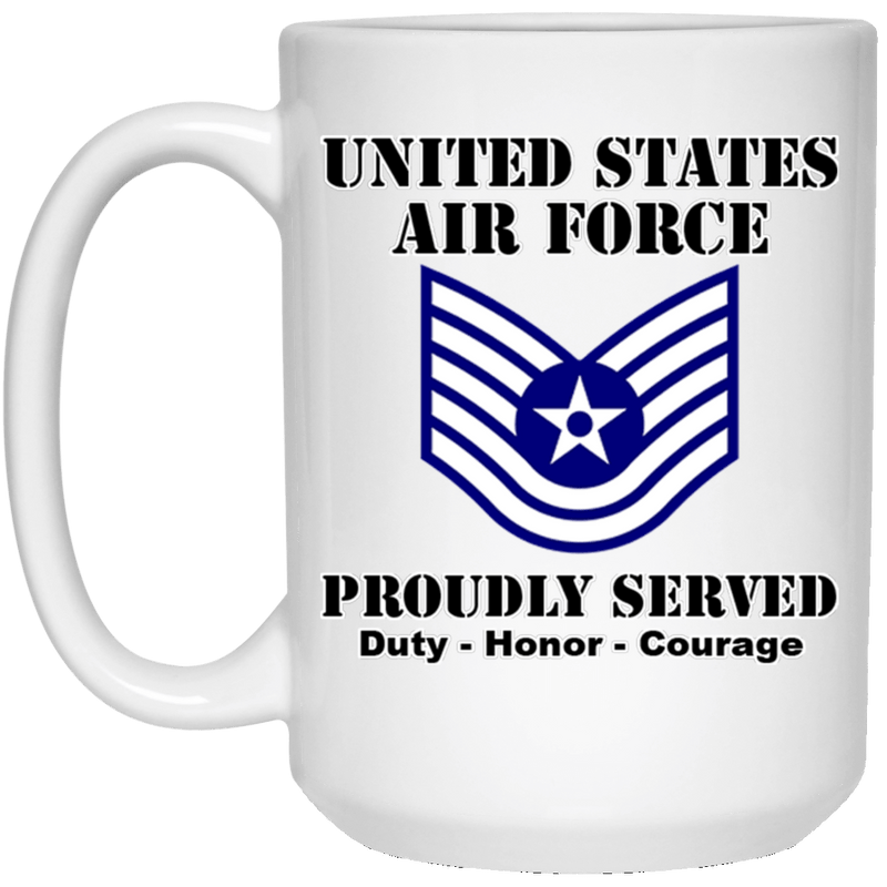 US Air Force E-6 Technical Sergeant TSgt E6 Noncommissioned Officer Ranks White Coffee Mug - Stainless Travel Mug