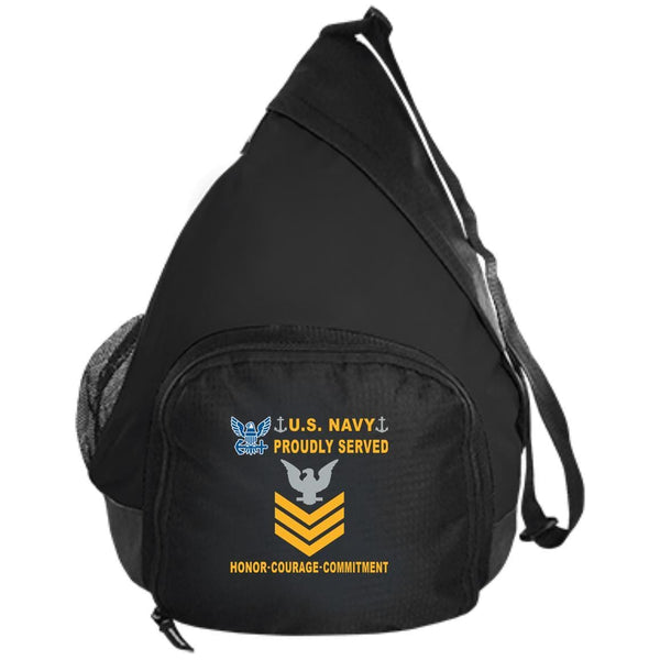 US Navy E-6 Petty Officer First Class E6 PO1 Gold Stripe Collar Device Proudly Served-D04 Embroidered Active Sling Pack
