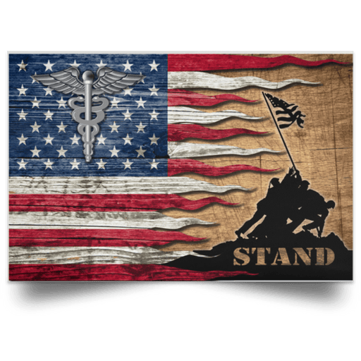 US Coast Guard Health Services Technician HS Logo Stand For The Flag Satin Landscape Poster