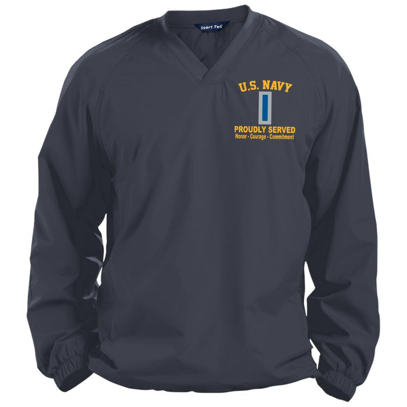 US Navy W-5 Chief Warrant Officer 5 W5 CW5 Warrant Officer Proudly Served Embroidered Sport-Tek Pullover V-Neck Windshirt