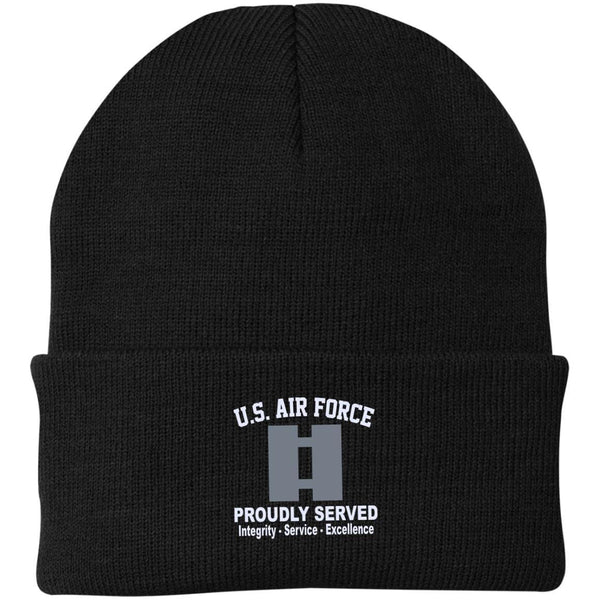 US Air Force O-3 Captain Capt O3 Commissioned Officer Core Values Embroidered Port Authority Knit Cap