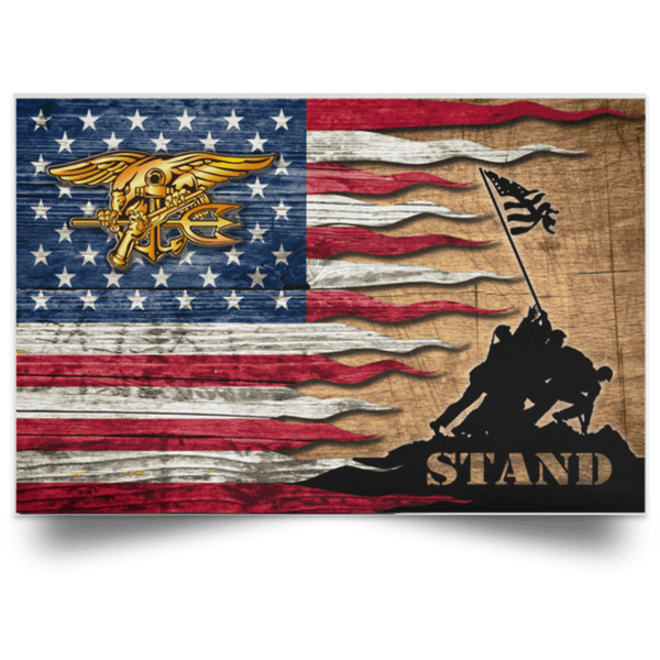 US Navy Special Warfare Stand For The Flag Satin Landscape Poster
