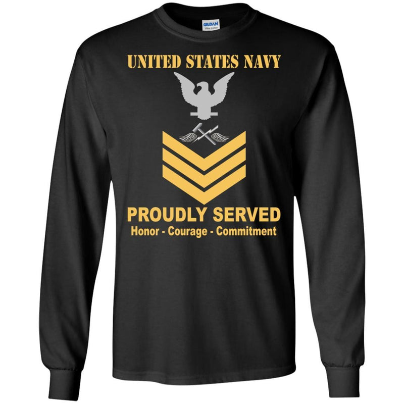 Navy Aviation Support Equipment Tech Navy AS E-6 Rating Badges Proudly Served T-Shirt For Men On Front