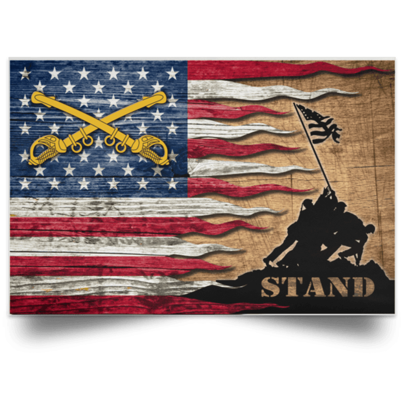 US Army Cavalry Stand For The Flag Satin Landscape Poster
