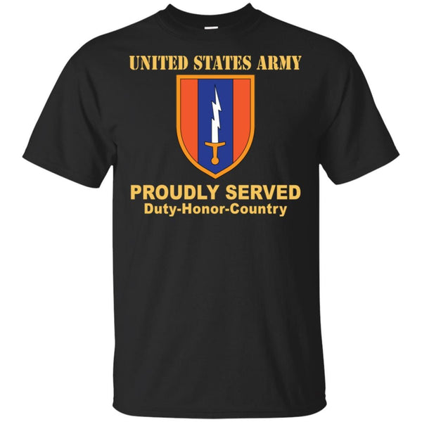 US ARMY 1ST SIGNAL- Proudly Served T-Shirt On Front For Men