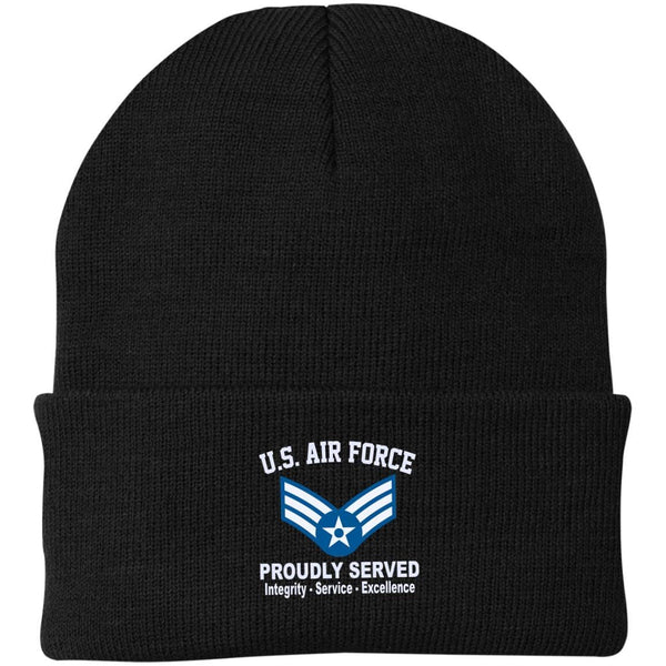US Air Force E-4 Senior Airman SrA E4 Enlisted Airman Core Values Embroidered Port Authority Knit Cap
