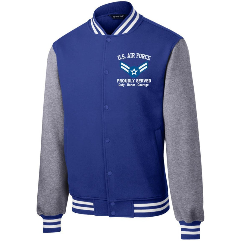 US Air Force E-3 Airman First Class A1C E3 Enlisted Airman Proudly Served Embroidered Sport-Tek Fleece Letterman Jacket