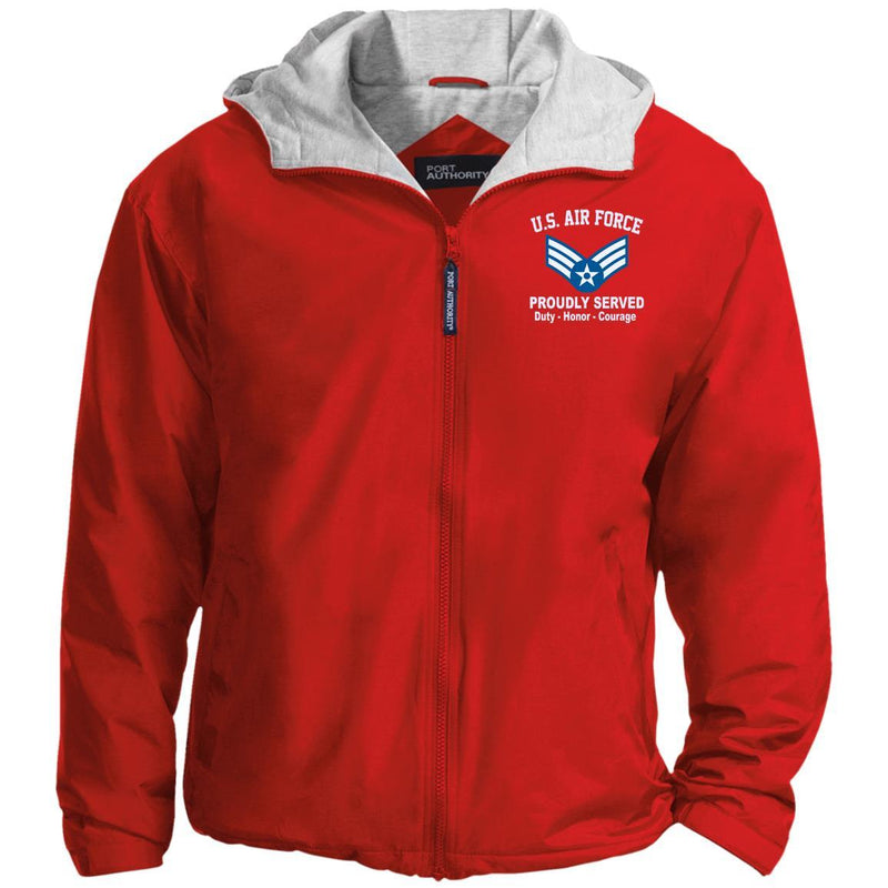 US Air Force E-4 Senior Airman SrA E4 Enlisted Airman Proudly Served Embroidered Port Authority® Hoodie Team Jacket