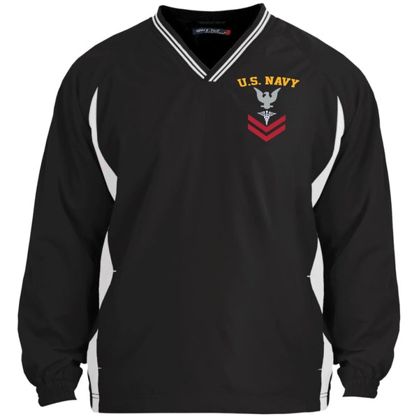 US Navy Hospital Corpsman HM E-5 Rating Badges Embroidered Sport-Tek Tipped V-Neck Windshirt