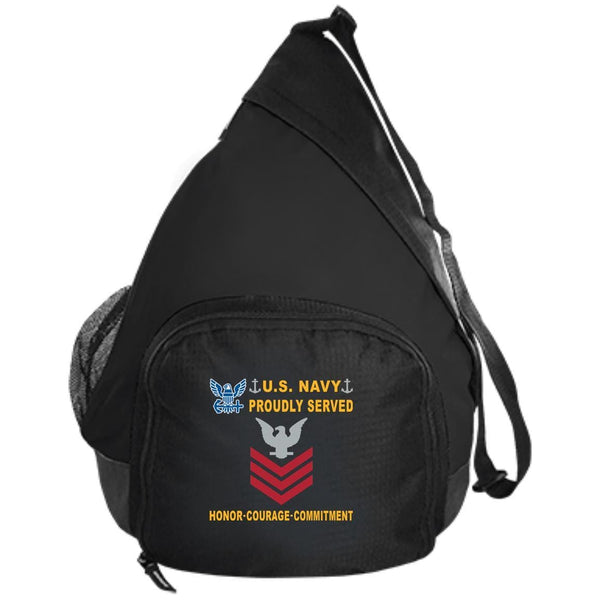 US Navy E-6 Petty Officer First Class E6 PO1 Collar Device Proudly Served-D04 Embroidered Active Sling Pack
