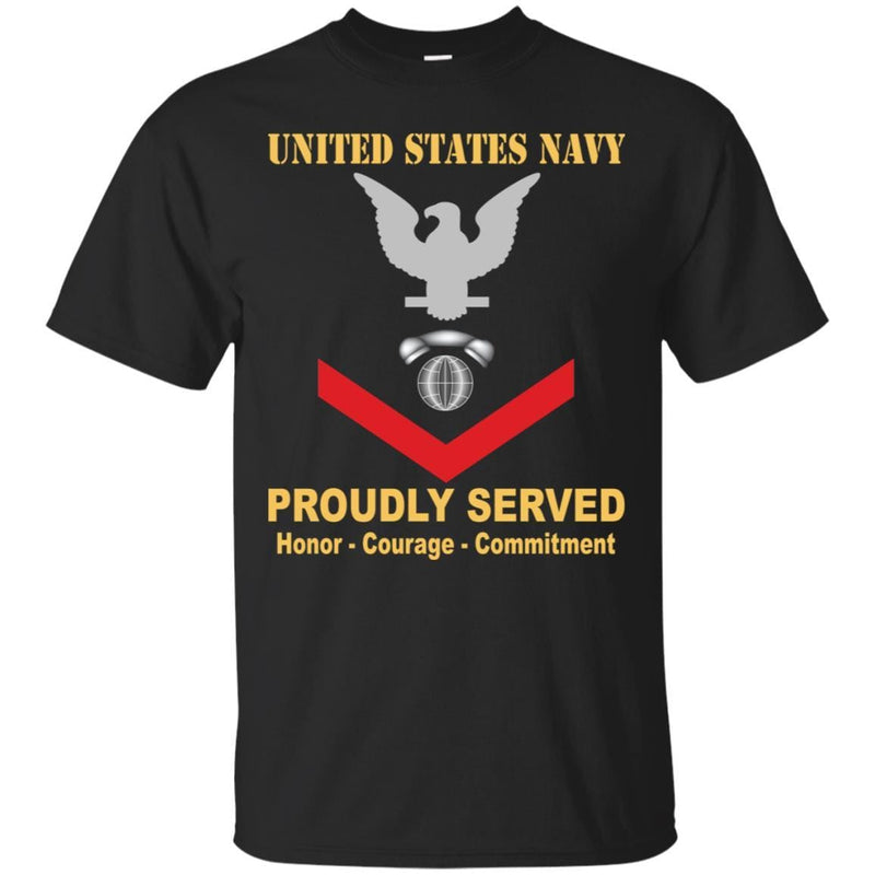 Navy Interior Communications Electrician Navy IC E-4 Rating Badges Proudly Served T-Shirt For Men On Front