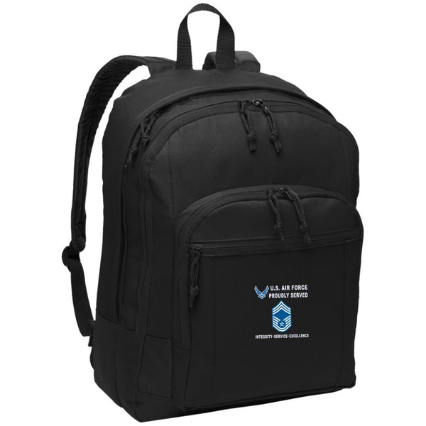 US Air Force E-9 Chief Master Sergeant CMSgt E9 Noncommissioned Officer Proudly Served-D04 Embroidered Backpack