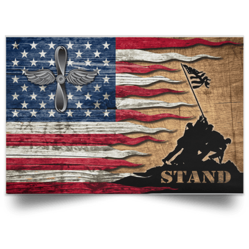 US Coast Guard Aviation Maintenance Technician AMT Logo Stand For The Flag Satin Landscape Poster